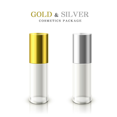 perfume oil: golden and silver cosmetic package isolated on white background Illustration