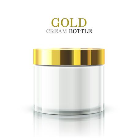 gold cream bottle package isolated on white background Illustration