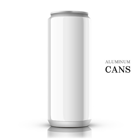 white aluminum can isolated on white background