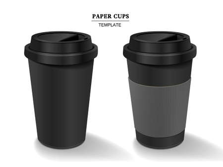 coffee background: paper coffee cups set isolated on white background Illustration