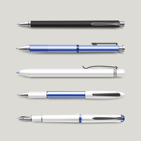 clerical: graceful blue pens set isolated on beige background
