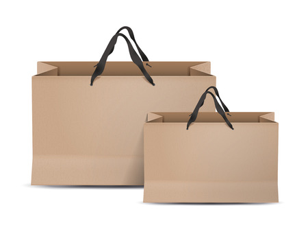 paper bags set isolated on white background