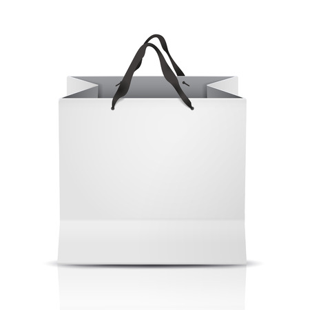 white shopping bag template isolated on white