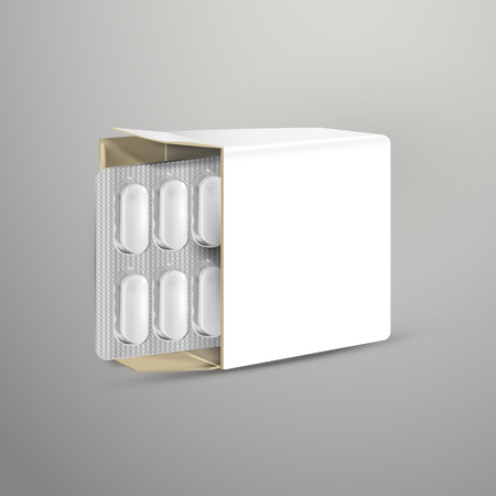 blister: pills with white package paper box isolated on white background