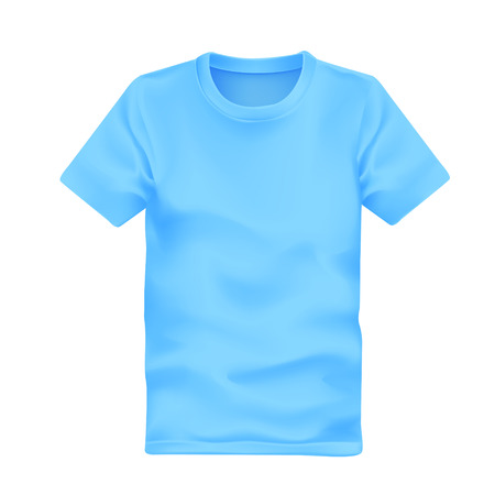tees: mans t-shirt in blue isolated on white background Illustration