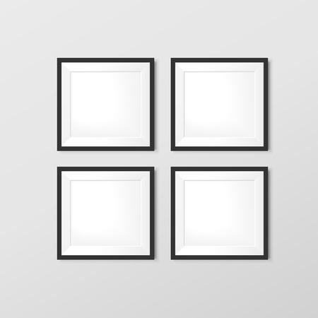 boarder: elegant blank photo frames set isolated on wall