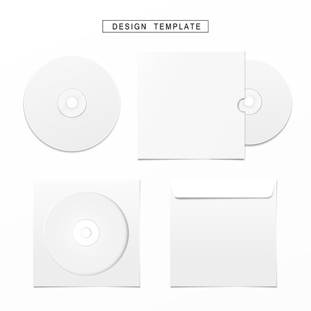 recordable: blank white compact disk with cover set isolated on white Illustration