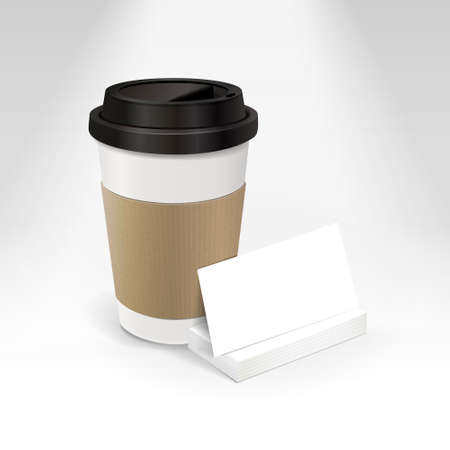 business card and coffee cup isolated on white background Vector