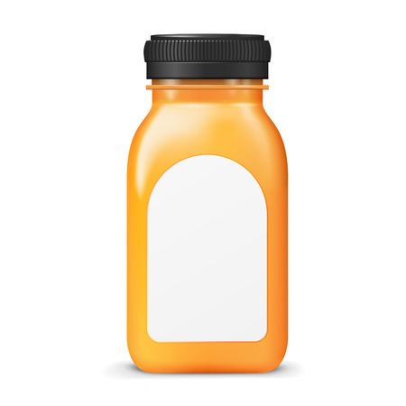verre de jus d orange: bouteille de jus avec �tiquette vierge isol� sur fond blanc