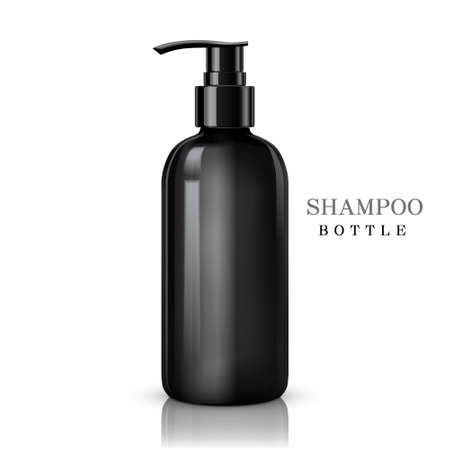intimate: black shampoo bottle isolated on white background