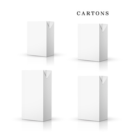 white drink cartons set isolated on white background Vector