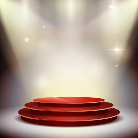reconocimientos: magnífica plataforma de actuación aislada en el fondo iluminado Vectores