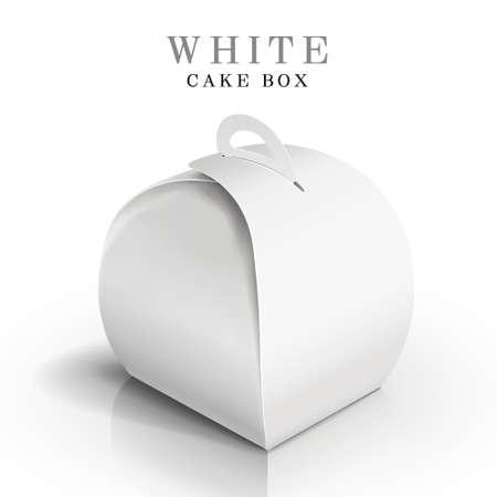 cream paper: white cake box isolated on white background