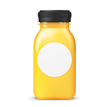 blank label: juice bottle with blank label isolated on white background