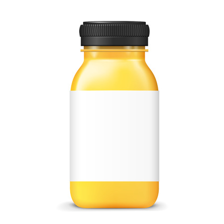 juice bottle: juice bottle with blank label isolated on white background
