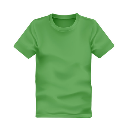 tees: mans t-shirt in green isolated on white background