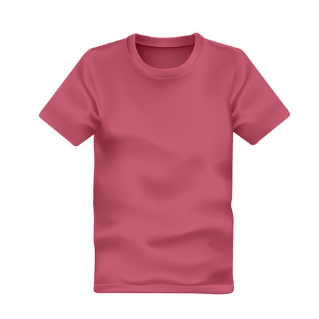 blank t shirt: mans t-shirt in pink isolated on white background