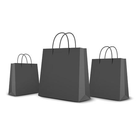 zwarte boodschappentassen set geïsoleerd op wit Stock Illustratie
