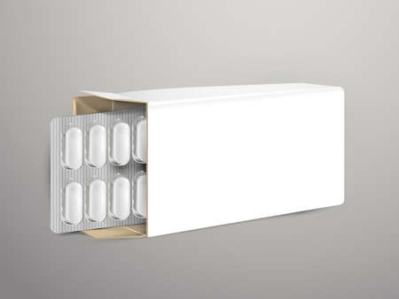 packs of pills: pills with white package paper box isolated on white background
