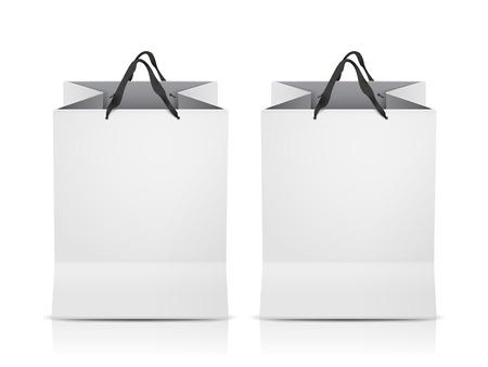 on white: white shopping bags set isolated on white