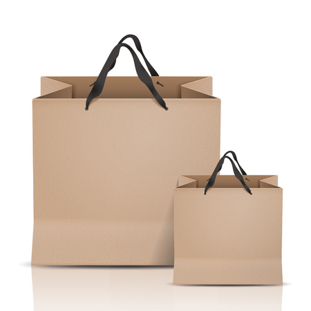 kraft paper bags set isolated on white background