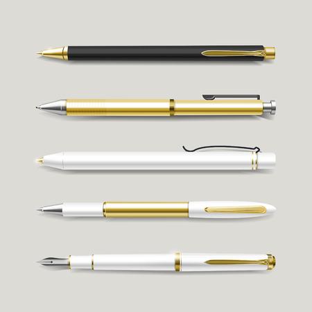 boligrafos: plumas de oro elegantes conjunto aislado sobre fondo beige Vectores