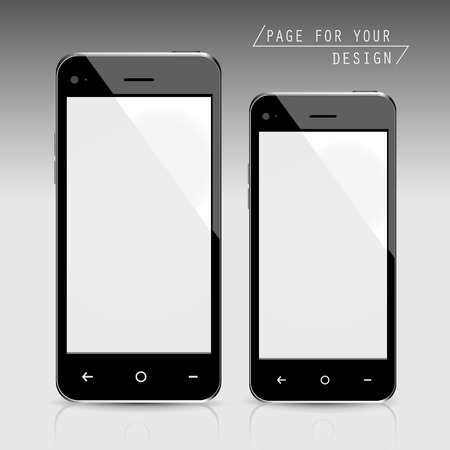 respond: blank smartphones set isolated on grey background