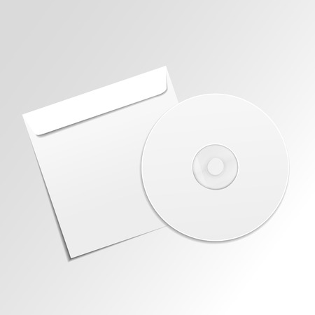 recordable: blank white compact disk with cover isolated on grey