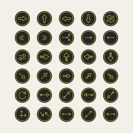iconography: elegant arrow icons design set isolated on beige