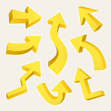 격리 된 베이지 색에 3D 노란색 화살표가 설정
