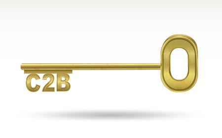 golden key: C2B - golden key isolated on white  Illustration