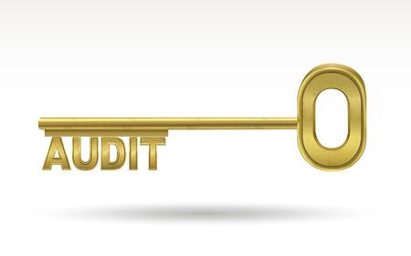 golden key: audit - golden key isolated on white background Illustration