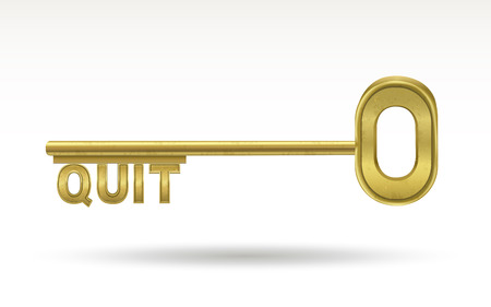 quit: quit - golden key isolated on white background