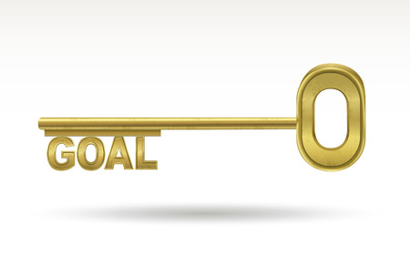 golden key: goal - golden key isolated on white background Illustration