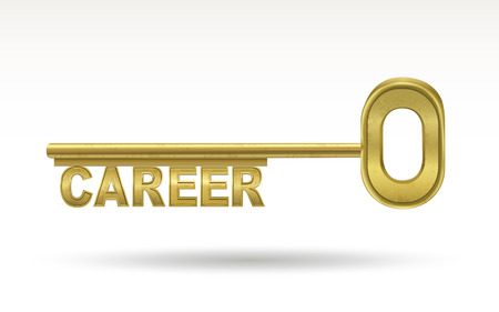 golden key: career - golden key isolated on white  Illustration