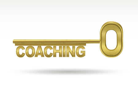 career coach: coaching - golden key isolated on white background