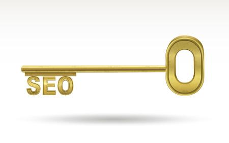 autoridad: SEO - llave de oro aisladas sobre fondo blanco Vectores