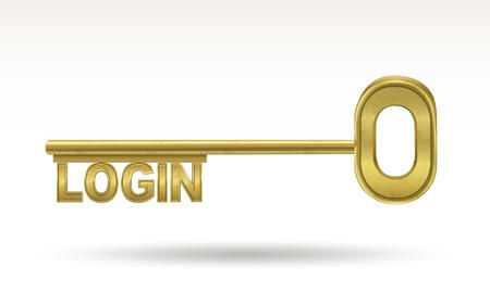 autoridad: entrada - llave de oro aislado en el fondo blanco
