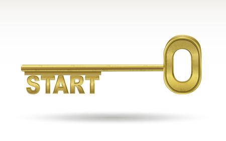 golden key: start - golden key isolated on white background