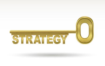 전략 - 황금 열쇠 흰색 배경에 고립 된
