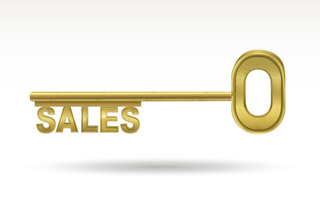 safety message: sales - golden key isolated on white background Illustration