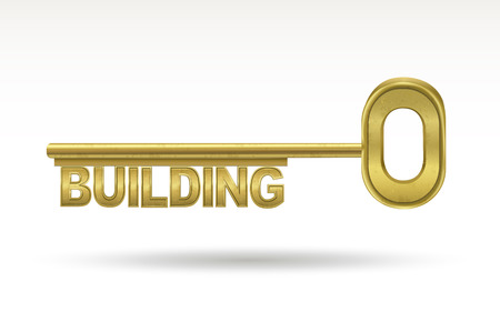 interdependent: building - golden key isolated on white background