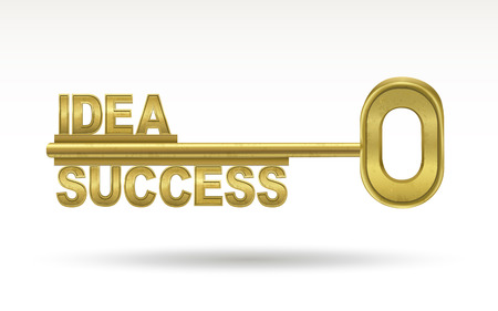 idea success - golden key isolated on white background Çizim