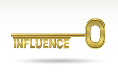manipulate: influence - golden key isolated on white background