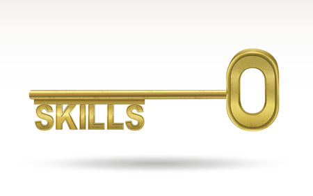 golden key: skills - golden key isolated on white background