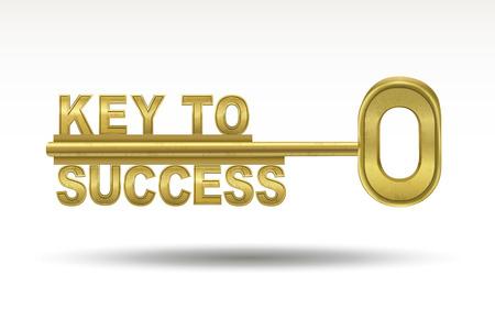 성공의 열쇠 - 흰색 배경에 고립 된 황금 열쇠 일러스트