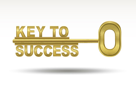 keys to success: key to success - golden key isolated on white background