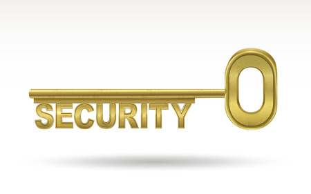 golden key: security - golden key isolated on white background Illustration