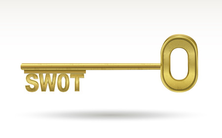 swot: SWOT - golden key isolated on white background