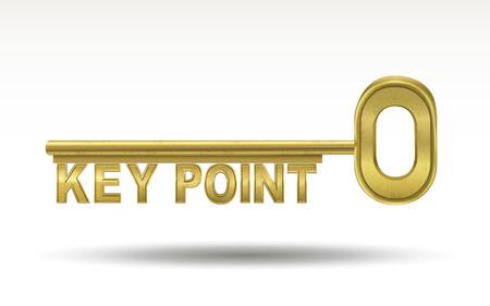 key point - golden key isolated on white background
